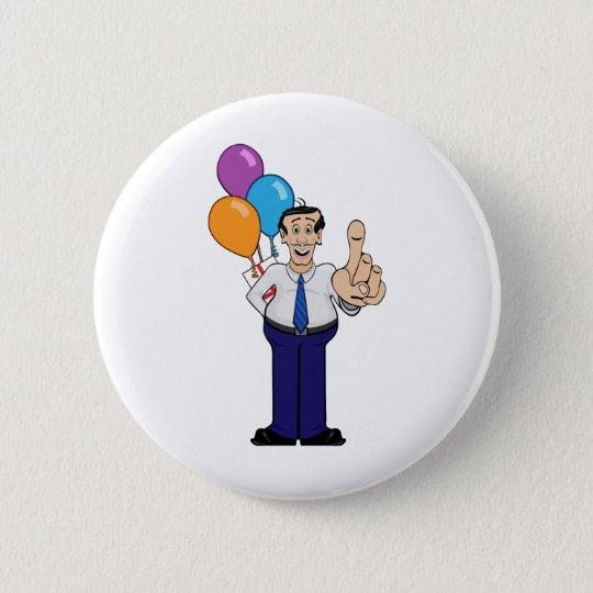 Mann mit Ballonen Runder Button 5,7 Cm