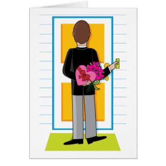 Mann mit Blumen Karte