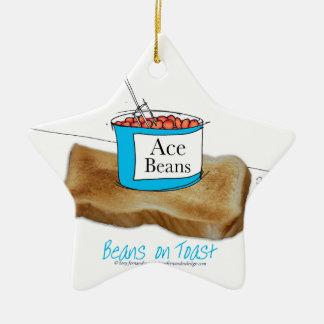 Mann-Nahrung Tonys Fernandess - Bohnen auf Toast Keramik Stern-Ornament