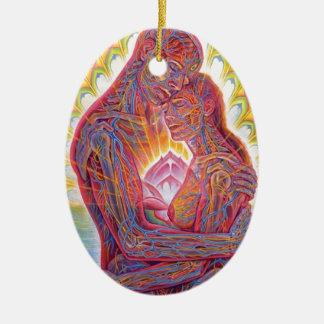 Mann und Frau Ovales Keramik Ornament
