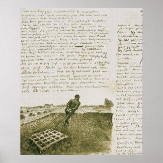 Mann Vincent van Goghs |, der eine Egge zieht Poster