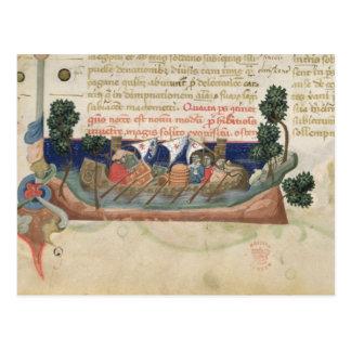 Männer in einem Boot, das Versorgungen zum Postkarte
