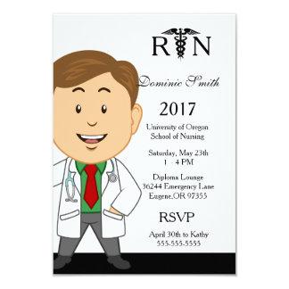 Männliche Krankenpflege-SchulAbschluss-Einladung Karte