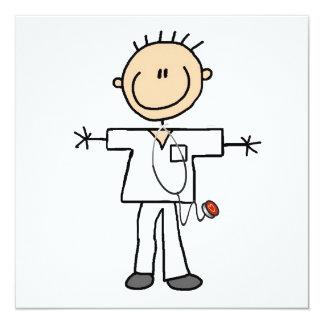 Männliche Strichmännchen-Krankenschwester-T - Quadratische 13,3 Cm Einladungskarte