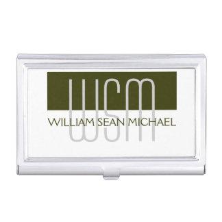 Männlicher mit Monogramm grüner weißer Männer Visitenkarten Dose
