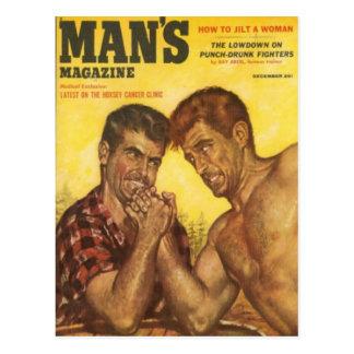 Männliches Mann-Arm-Wringen Postkarte