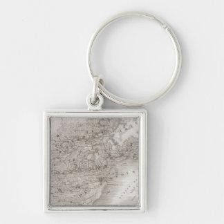 Mansourah, San, Ägypten Silberfarbener Quadratischer Schlüsselanhänger
