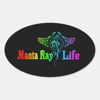 Mantarochen-Leben Ovaler Aufkleber