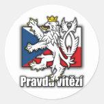 Manteau tchèque de lion de drapeau de bras adhésif rond
