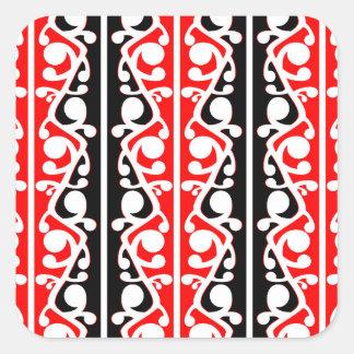 Maori- Kowhaiwhai traditionelles Muster Quadrat-Aufkleber