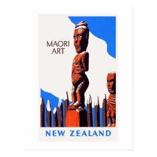 Maori- Kunst-Vintages Plakat Neuseelands wieder Postkarte