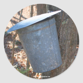 Maple Syrup Sap Bucket Nature Photo Sticker Label