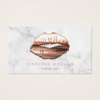 Maquilleur rose de lèvres de l'or 3D de marbre à Cartes De Visite