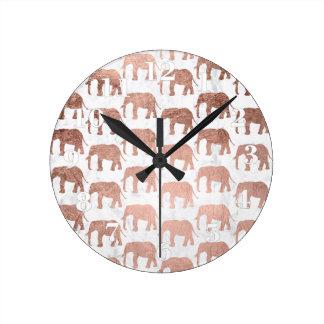 Marbre rose de blanc d'éléphants d'or de faux à la horloge ronde