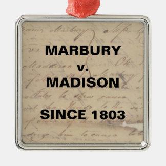 Marbury Madison Karo-und Balancen-Widerstand Silbernes Ornament