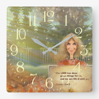 Märchen-Fall-Psalm 120 gefüllt mit Freude Quadratische Wanduhr