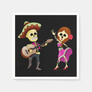 Mariachi-Tanzen-Paar-Tag der Toten Papierservietten