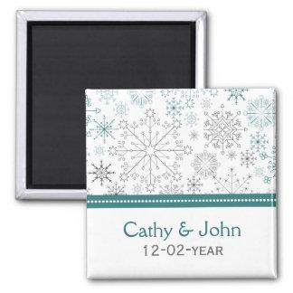 Mariage blanc turquoise d'hiver de flocons de aimant
