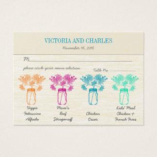 Mariage coloré de fleur sauvage de pot de maçon de cartes de visite