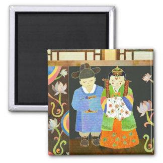 Mariage coréen traditionnel : Cadeau de mariage un Magnet Carré