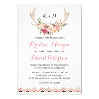 Mariage ethnique blanc floral de décor d'Antler Carton D'invitation 12,7 Cm X 17,78 Cm