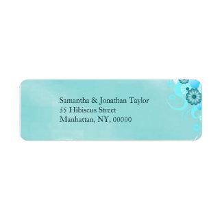 Mariage floral de turquoise bleue turquoise foncée étiquette d'adresse retour