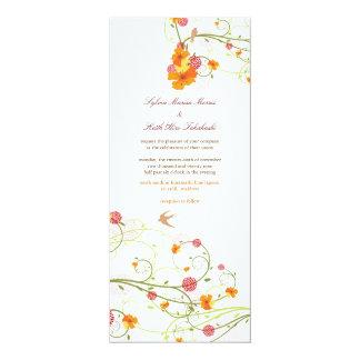 Mariage floral d'été d'oiseaux de fleur jaune de carton d'invitation  10,16 cm x 23,49 cm