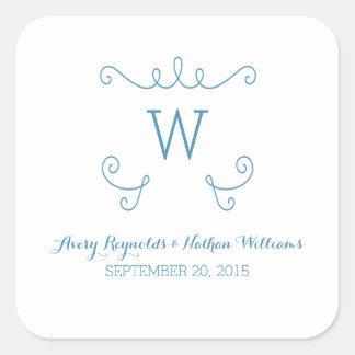 Mariage lunatique bleu de monogramme de Flourish Sticker Carré