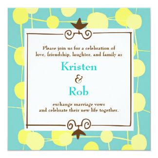 Mariage pointillé (de bleu de Bubblegum) Carton D'invitation 13,33 Cm
