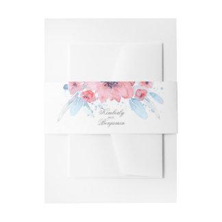 Mariage rose bleu floral d'aquarelle bandeau de faire-part