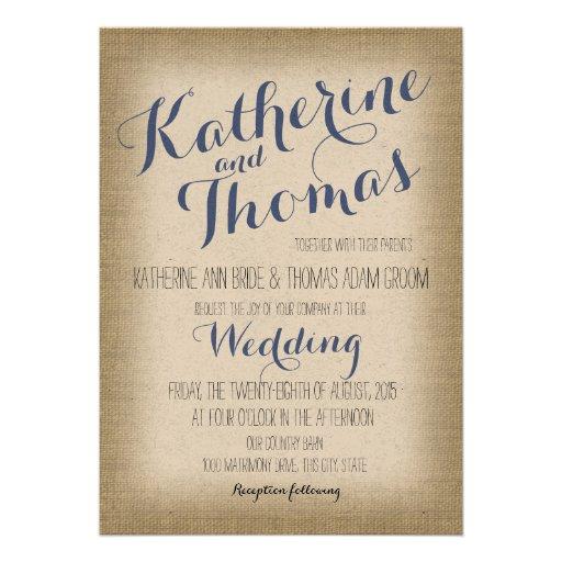 Mariage rustique de conception de typographie de invitations