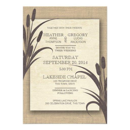 Mariage rustique de lac Cattails Invitation Personnalisable