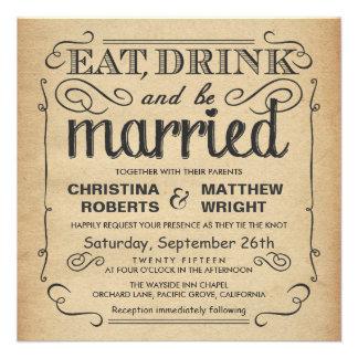 Mariage rustique de poster vintage - carré invitation personnalisée