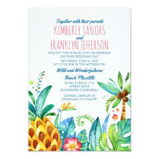 mariage tropical de paumes de plage d'ananas carton d'invitation  12,7 cm x 17,78 cm