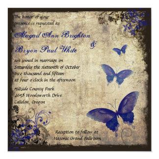Mariage vintage de papillon de bleu royal cartons d'invitation