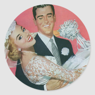 Mariage vintage, jeune mariée de transport de sticker rond