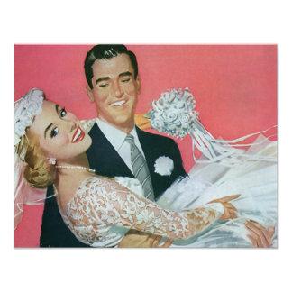 Mariage vintage, jeune mariée de transport de cartons d'invitation