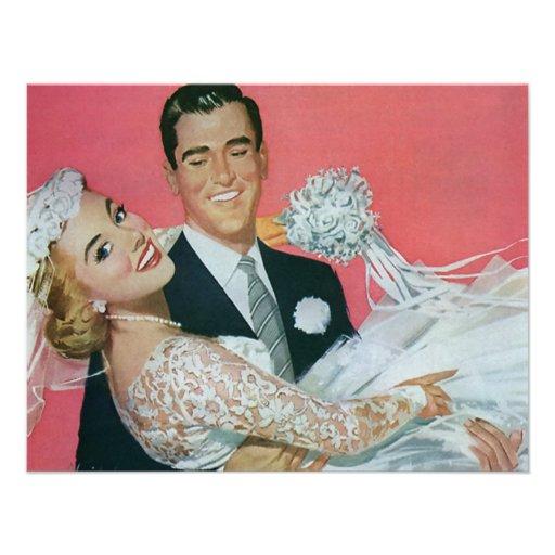 Mariage vintage, jeune mariée de transport de mari cartons d'invitation