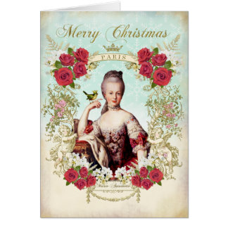 Marie Antoinette Bird Red Roses Christmas Card Grußkarte