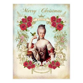Marie Antoinette Bird Red Roses Christmas Postcard Postkarte