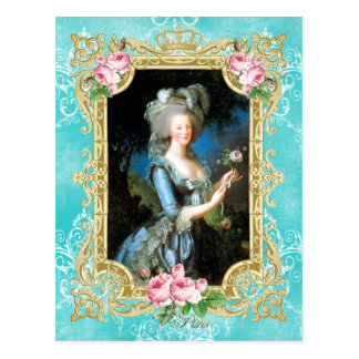 Marie Antoinette Portrait Blue Damask Postcard Postkarte