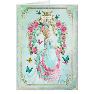 Marie Antoinette Shabby Chic-Schmetterlings-Karte Grußkarte