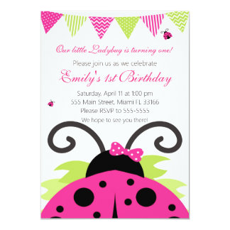 Marienkäfer-heißes Rosa-Kindergeburtstag-Party 12,7 X 17,8 Cm Einladungskarte