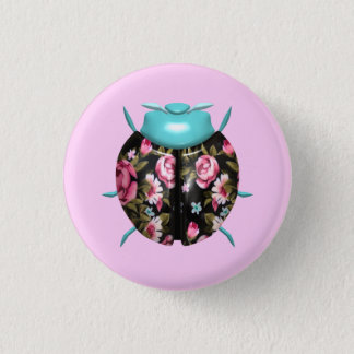 Marienkäfer - rosa Blumen/schwarze Flügel Runder Button 3,2 Cm