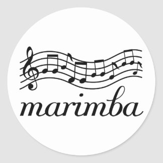 Marimba-schwarzes Musik-Personal Runder Aufkleber