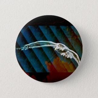 Marine-Blau-abstrakte Ozean-Vögel, die Seemöwe Runder Button 5,7 Cm