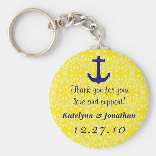 Marine-Blau-Anker auf gelbe Gastgeschenk Schlüsselanhänger