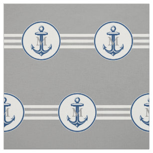 Marine-Blau-Anker des Nautiacal Stoff