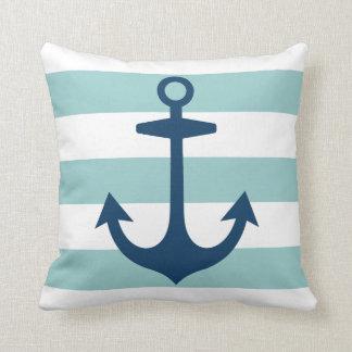 Marine-Blau-Anker mit Aqua-Seestreifen Kissen