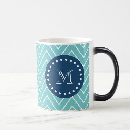 Marine-Blau, aquamarines Zickzack Muster   Ihr Mon Tasse
